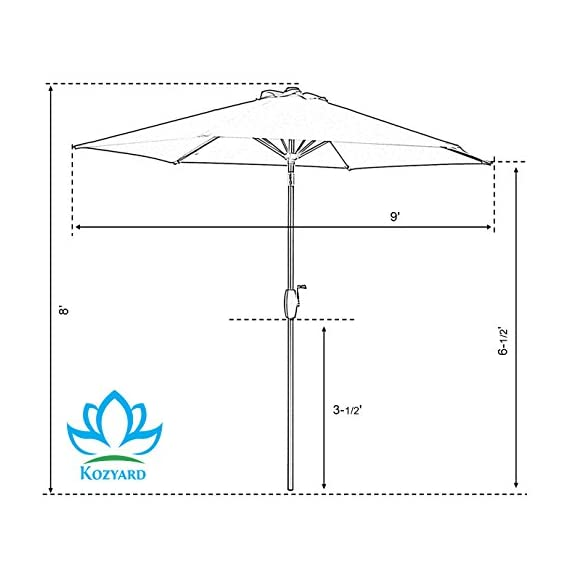 """Kozyard 9 Feet Patio Outdoor Umbrella with Push Button to Tilt/Crank, 100% Polyester, Steel Rib and Sturdy Aluminum Pole in Bronze Finish(Beige) - Crank open system making product simple to open and close, and pain free tilting capabilities 6 steel ribs for strong strength and 1.5"""" diameter aluminum center pole. Includes single wind vent for stability. (No base included) 160 gsm Solution-dyed polyester with color fastness lasts for 1000 hours. Powder Coated Frame - shades-parasols, patio-furniture, patio - 41C3k fzRaL. SS570  -"""