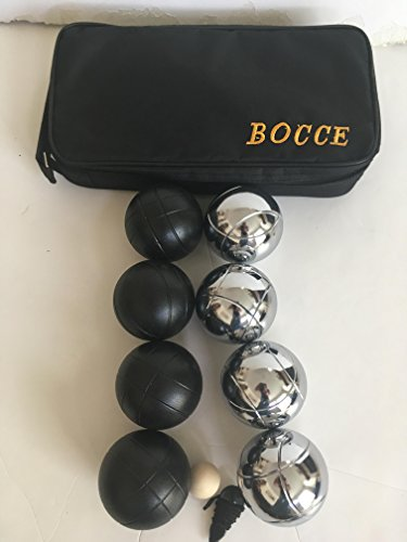 73mm Metal Bocce/Petanque Set with 8 Black and Silver balls and black bag by BuyBocceBalls