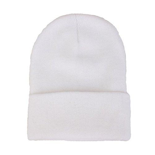 rm Winter Hat Knit Plain Skull Beanie Toboggan Knit Hat/Cap (White) (Arctic Beanie)