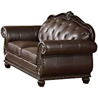 ACME 15031 Top Grain Leather Loveseat, Dark Brown Leather