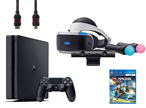 PlayStation VR Start Bundle 5 Items:VR Headset,Move Controller,PlayStation Camera Motion Sensor,Sony PS4 Slim 1TB Console – Jet Black,VR Game Disc RIGS Mechanized Combat League