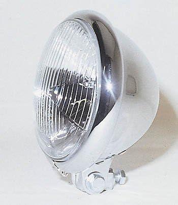 Shinyo Motorrad Scheinwerfer H4 Hauptscheinwerfer Ø157mm Bates Unten Chrom Unisex Multipurpose Ganzjährig Metall Auto