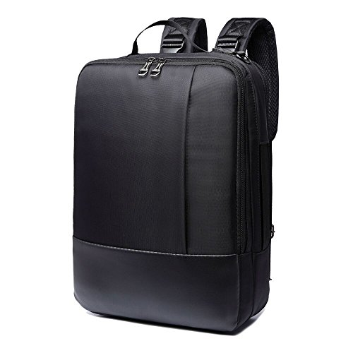 14/15.6 inch Multi-function Convertible Laptop Messenger Computer Bag Single-shoulder Backpack Briefcase Oxford and PU Leather Waterproof Multi-Compartment For iPad Pro Macbook Men and Women,Black - Black Oxford Apples