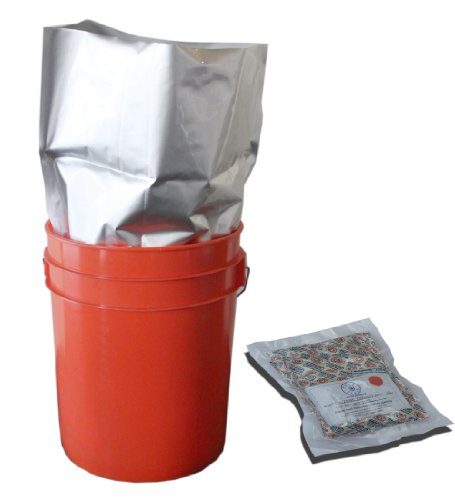 5 Gallon Mylar Bags with 2000cc Oxygen Absorbers (10) with PackFreshUSA LTFS Guide