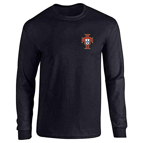 Portugal Soccer Retro National Team Football Black L Long Sleeve T-Shirt