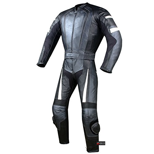 - New Men's 2PC Motorcycle Riding Racing Leather 2 PC Suit w/Padding & Hump 44