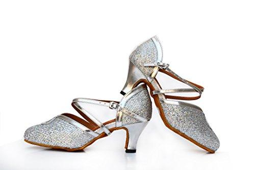 Shoes Ballroom MGM Evening Synthetic Strap Sandals Toe Dance Wedding Cross Silver Closed Salsa Latin Modern Tango Heel 6cm Glitter Joymod Women's rqvZr6
