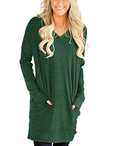 Green Tunic Sweater (Tovly Women Long Sleeve Casual V-Neck Hoodie Sweatshirt With Pockets Loose T Shirt Blouses Tops(M,6009Green))