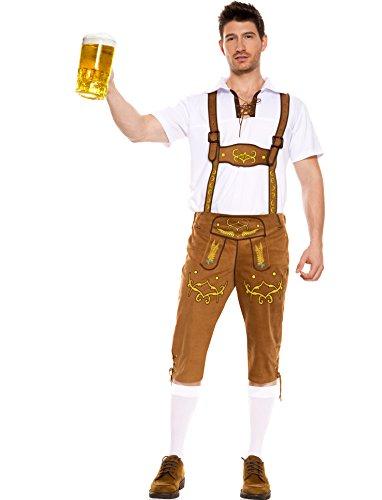 MUSIC LEGS Men's Bavarian Lederhosen, Brown, Medium
