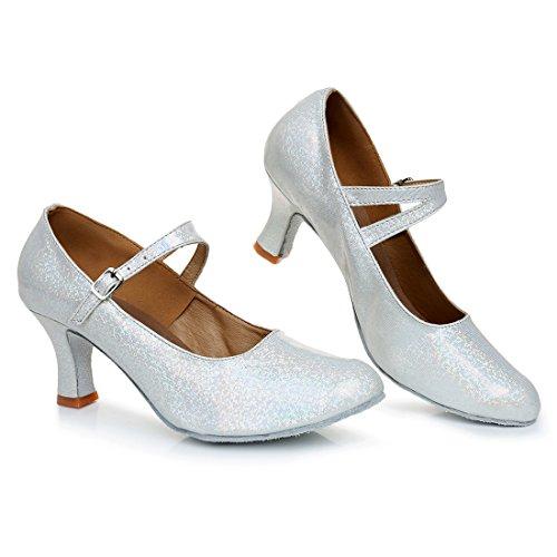 Silber VASHCAMER Sandales pour de Femme Chaussures Talons Danse Hauts FxwF8CrqU