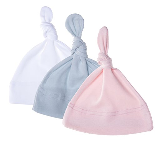 94a5b564a Mato & Hash Unisex Baby 100% Cotton Adjustable Knot Hat - 3PK  White/Pink/B.Blue CA55