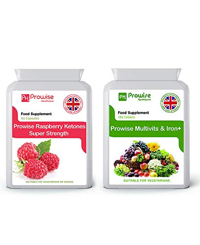 Raspberry Ketones 600mg 60 Capsules + Multivitamines 180 Tablets - UK Manufactured to GMP Guaranteed Quality - Suitable for Vegetarians & Vegans by Prowise Healthcare (Best Quality Multivitamin Uk)