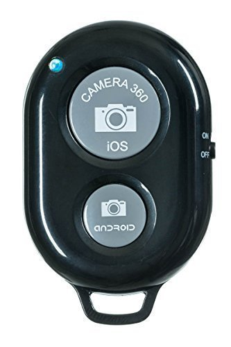 Bluetooth Wireless Remote Control Camera Shutter Release Self Timer for IOS Android Smartphone Tablet & all Bluetooth Compatible Products (Black) (Shutter Release Android)