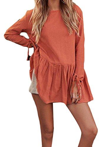 Confortables Femmes Strappy Col Rond Plissé Robes De Soirée Fête À Manches Longues Orange2