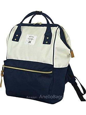 Japan Anello Backpack LARGE NAVY WHITE Rucksack Waterproof Canvas Bag