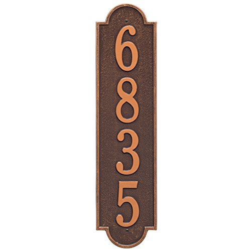 (Whitehall Products Richmond Estate Rectangular Antique Copper Wall 1-Line Vertical Address Plaque )