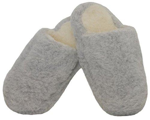 SamWo Schafwoll-Wohlfühl-Hausschuhe/Pantoffeln,Weiche Rutschfeste Sohle,100% Schafwolle SWH 41-42 | Hellgrau