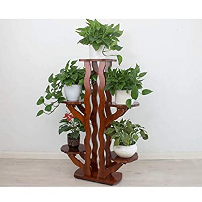 Flower stand Flower stand floor-standing solid wood flower stand living room flower stand green deer hanging orchid multi-layer flower stand balcony flower rack ( Color : Brown , Size : 4824116cm ): Garden & Outdoor