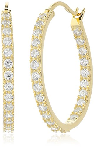 (14k Gold Plated 925 Sterling Silver Round Prong-Set AAA Cubic Zirconia Hoop Earrings (.9