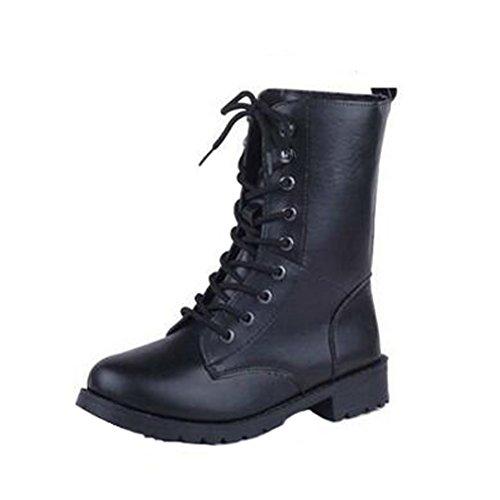 Angelliu Cool Black PU Leather Womens Flats Martin Boots Motorcycle Rider Boots