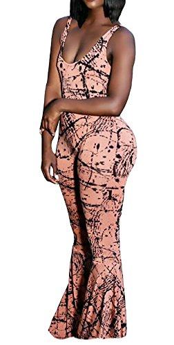 Intera Donna Estivi Fashion Stampato Colpo Pantaloni Tuta Lungo Grazioso Moda Eleganti Smanicato Senza Schienale Slim Fit Tempo Libero Unico Pantalone Zug Pagliaccetto Tutine Stlie Verde