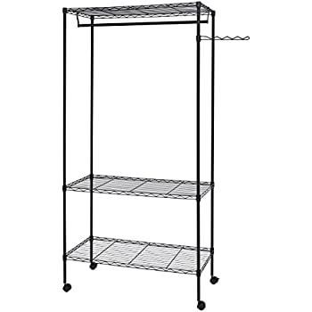 Finnhomy Sturdy Shelving Garment Rack Rolling Clothes Rack For Closet  Organizer Movable Wardrobe With 3 Adjustable