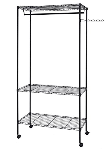 Finnhomy Sturdy Shelving Garment Rack Rolling Clothes Rack for Closet Organizer Movable Wardrobe with 3 Adjustable Shelves and Side Hanger