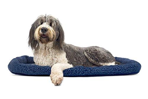 NAP Pet Bed Berber Bolster Pet Bed, Blue, Jumbo Fits 30