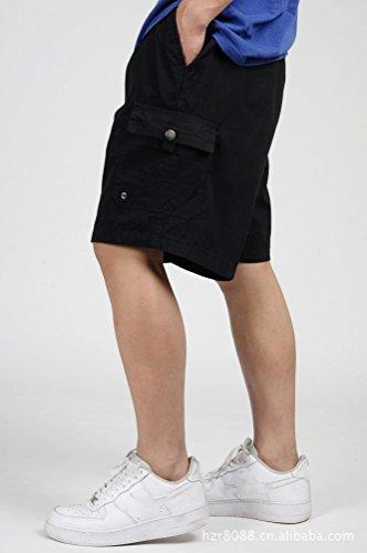 Heheja Pantaloni Bermuda Uomo Militari Cargo Con Shorts Elastico Nero Pantaloncini Da HqHPn0gF