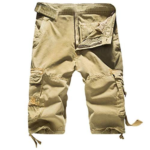 iYBUIA Men's Personality Casual Solid Color Outdoor Pocket Zipper Quick Drying Beach Work Multi-Pocket Cargo Shorts Khaki