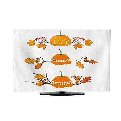 Indoor TV CoverAutumn Season Element with Pumpkin Maple and Oak Leaves Acorn and red Berries Dry Branch Fall Decoration Element for Cards and Seasonal décor Isolated on White background50/52