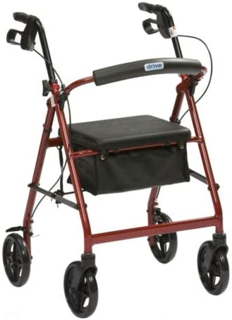 Drive R6 Red Aluminium Rollator with Padded Seat and Vinyl Underseat Bag