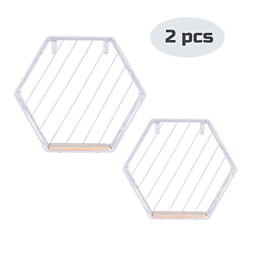 Floating Shelves Wall Mounted Metal Wire Art Hexagon Shelves with Solid Wood Board for Plant Display, Storage Rack & Organiser, Home Decoration Wall Shelf Set of 2 (White, Stripes)