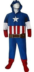 Marvel Comics Captain America Hooded Masked Onesie Pajama for men