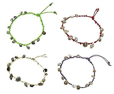 BDJ Handmade Tiny Shells Cotton Cord Anklet Bracelet Free Size