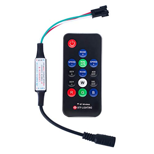 (BTF-LIGHTING WS2811 and WS2812B DC5-12V 14keys Wireless RF Led RGB Controller 300 Kinds of Changes Digital Color LED Light Pixel Strip modules)