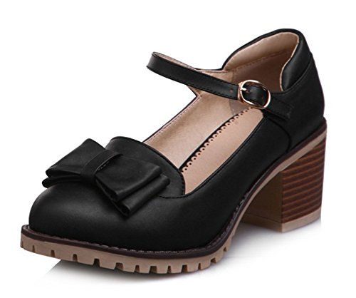 Aisun Womens Sweet Round Toe Buckle Dress Stacked Medium Heels Pumps Shoes With Ankle Straps Black 2 LGsXYl1qPi