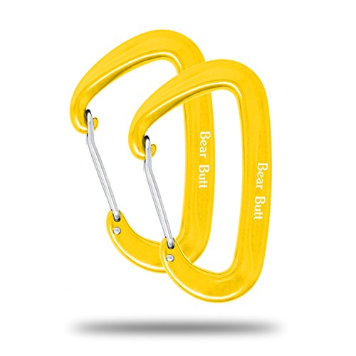 Hammock Carabiner Clip, Heavy-Duty Locking Wiregate Carabiner,Yellow