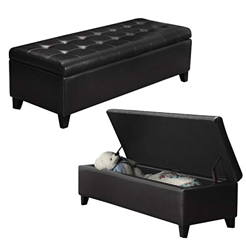 (Black Faux Leather Tufted Storage Bench Ottoman with Hinged Lid, Rectangular )