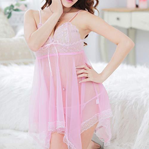 Womens Lace Maniche G Irregular Sleepwear Babydoll Senza Nightdress Rosa Lingerie Sexy string Qiuxiaoaa tqFEAA