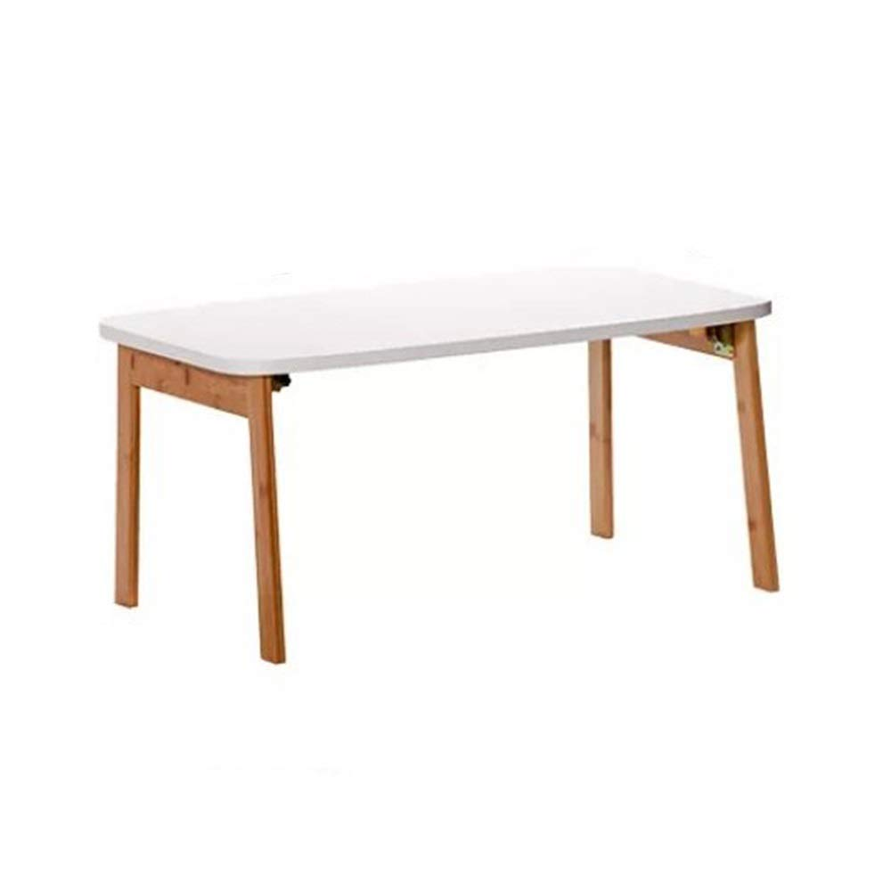 48×80×36.3cm Rectangular Lazy Bed Folding Table, Rounded, Bamboo, Easy to Fold, Easy to Handle, 80Kg Load Capacity, White (Size   48×80×36.3cm)