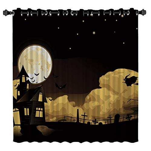 USOPHIA Blackout Grommet Curtains, Halloween Night,Witches and Castles 52 by 63 Inch Wide Sliding Door Curtain One Panel