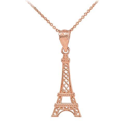 Collier Femme Pendentif 10 Ct Or Rose Tour Eiffel (Livré avec une 45cm Chaîne)