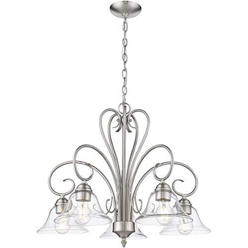 (Golden Lighting 8606-D5-PW-CLR Homestead 5 Light 25 inch Pewter Nook Chandelier Ceiling Light)