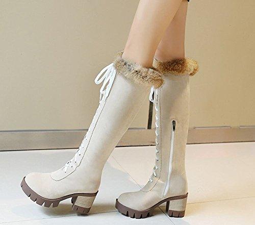Mee Shoes Damen chunky heels Reißverschluss Langschaft Stiefel Beige