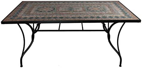 OUTLIV. Mesa de jardín con mosaico, de hierro/mosaico, diámetro ...