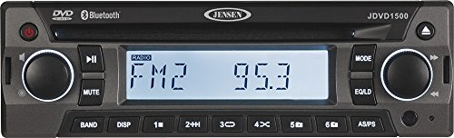 Jensen JDVD1500 Single-DIN 12 Volt AM/FM/CD/DVD/Bluetooth Player with Credit Card-Size Remote Control, Bluetooth Audio, Electronic AM/FM Tuner, Single DVD/CD player (DVD, CD-A, CD-R/RW), MP3 - Standard Credit Card Dimensions