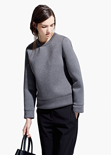 Mango Women's Neoprene-Effect Sweatshirt, Medium Heather Grey, Xs