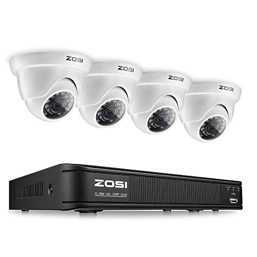 - ZOSI 8 Channel Video Security Camera System,1080p Lite Surveillance DVR Recorder and (4) 720p Weatherproof Dome CCTV Camera Outdoor/Indoor with Night Vision(No Hard Drive)