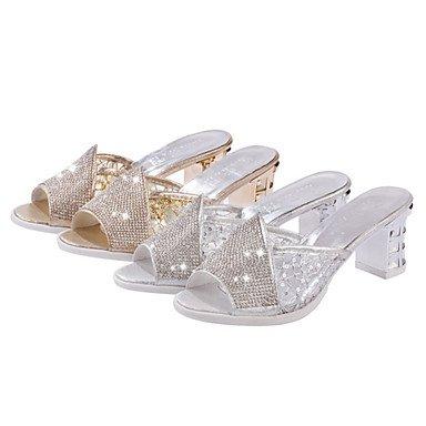 LvYuan Mujer-Tacón Robusto-Confort-Zapatillas y flip-flop-Vestido Informal-PU-Plata Oro Gold